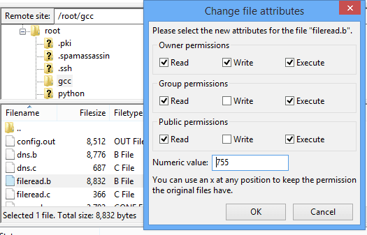 Linux File permission change using FileZilla over SFTP or FTP