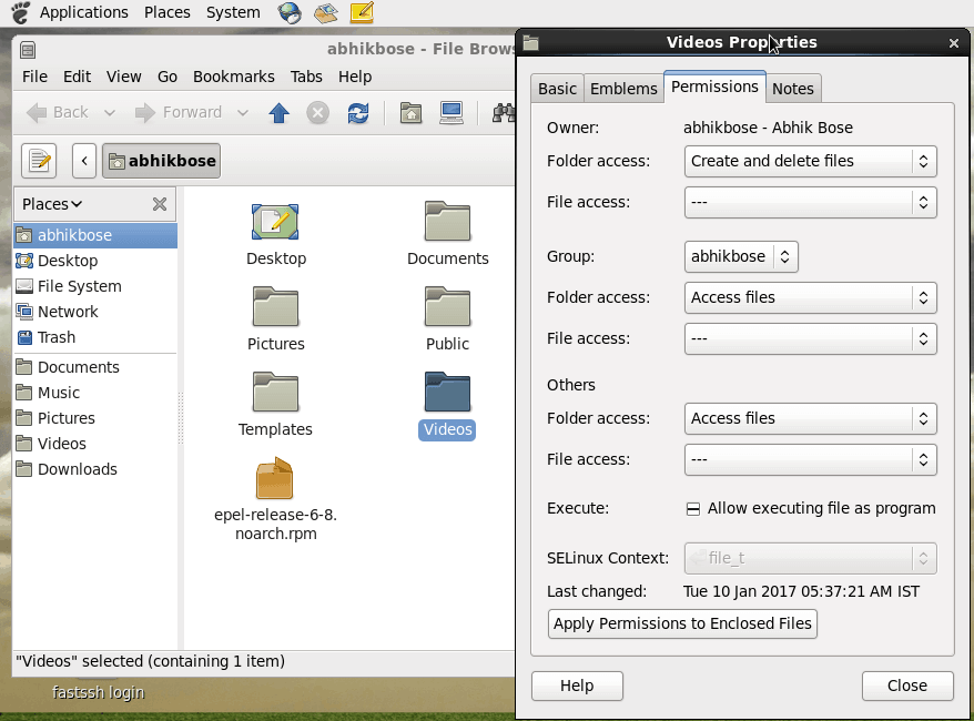 Changing File permissions in Linux Using Gnome GUI in CentOS 6.8 Picture Demonstration