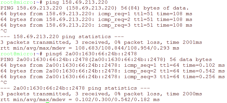 ping and ping6 test for newly added IPv4 and IPv6