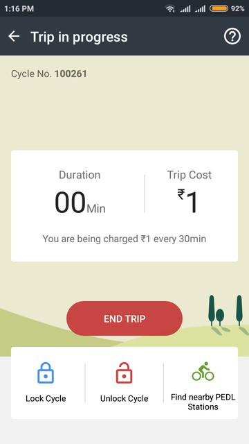 Zoomcar app screen during PEDL ride